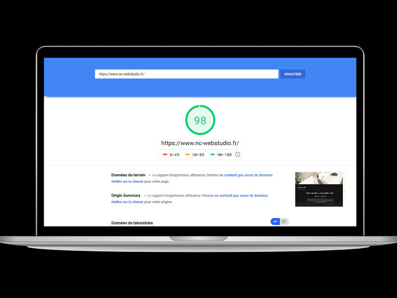 Résultats de performances par Google Page Speed Insight