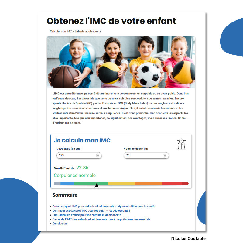 Calculateur IMC enfant