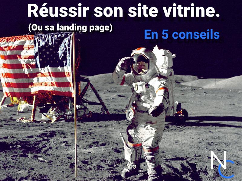 Un astronaute sur la lune et un texte : Réussir son site vitrine
