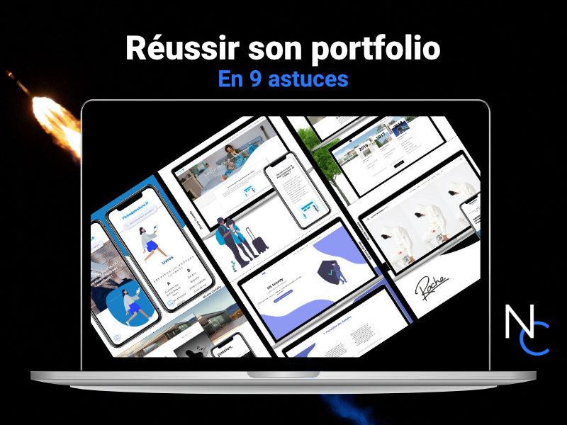 Portfolio sur un mac. Fond thème espace avec texte : Réussir son portfolio en 9 astuces