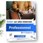 """Une pile de livres sur laquelle on peut lire """"créer un site internet professionnel en 9 chapitres"""" avec une plante en arrière plan"""