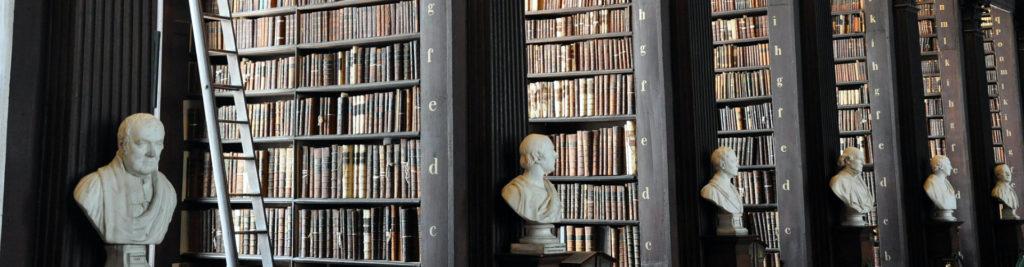 Bibliothèque de livres de droits avec des statues de bustes