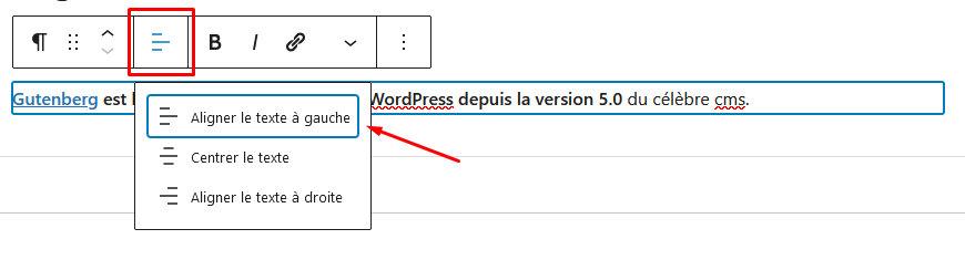Capture d'écran alignement de texte sur un bloc WordPress Gutenberg