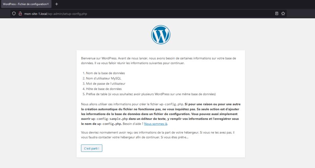 Assistant d'installation de WordPress au lancement