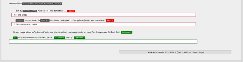 Formulaire de création d'un virtual host sur WAMP