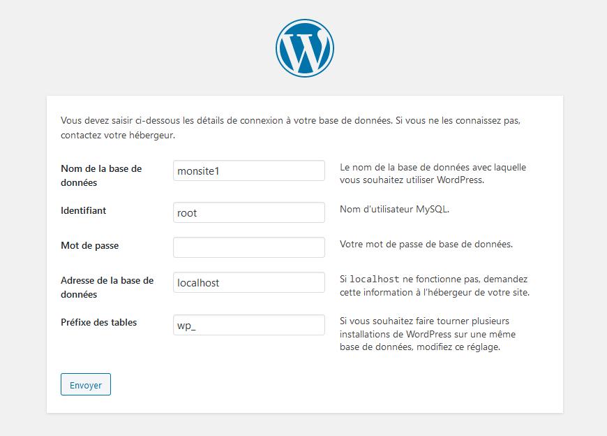 Étape 1 de l'assistant d'installation WordPress : informations de connexion à la base de données
