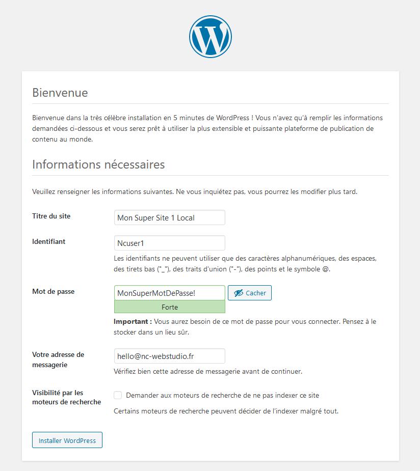 Étape 2 de l'assistant d'installation WordPress : informations du site