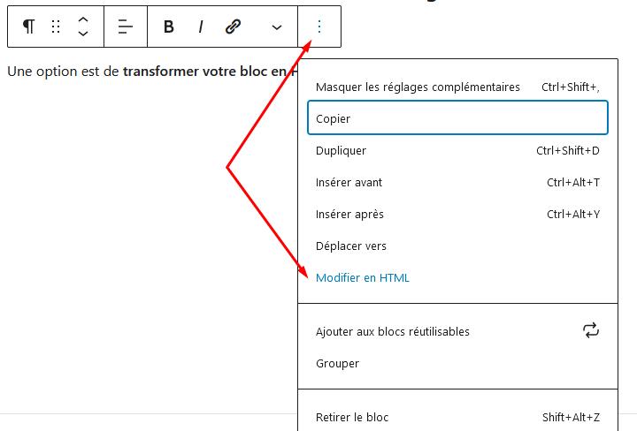 Capture d'écran modifier un bloc Gutenberg en HTML