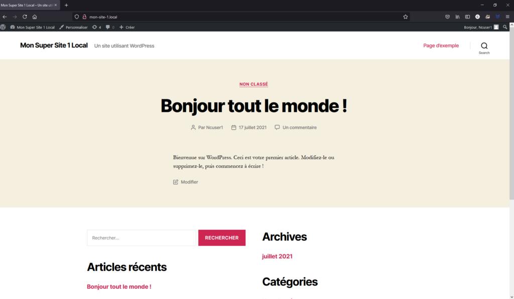 Site WordPress tout juste déployé sur le thème par défaut twenty twenty